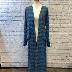 XL Lularoe Sarah Duster Long Cardigan Blue Stripe